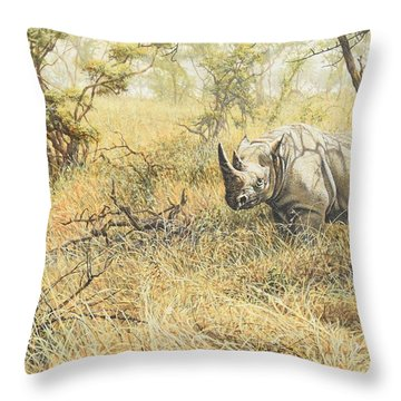 Throw Pillow featuring the painting Time To Move On by Alan M Hunt