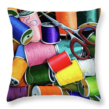 Time To Sew - Colorful Threads Throw Pillow