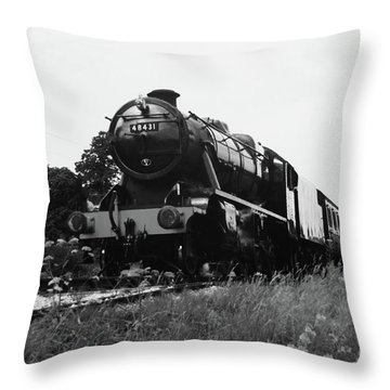 Throw Pillow featuring the photograph Time Travel By Steam B/w by Martin Howard