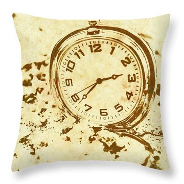 Time Worn Vintage Pocket Watch Throw Pillow