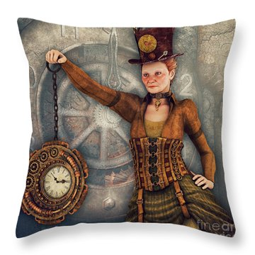 Throw Pillow featuring the digital art Timekeeper by Jutta Maria Pusl