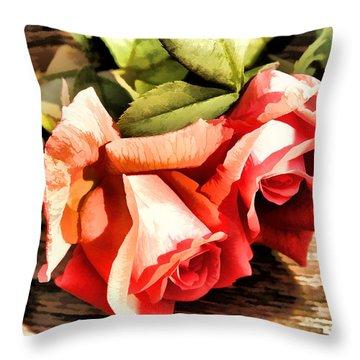 Timeless Tropicana Roses Throw Pillow