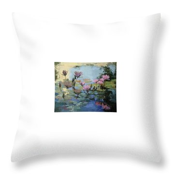 Times Between - Water Lilies Throw Pillow