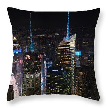 Times Square At Night From The Empire State Building Throw Pillow