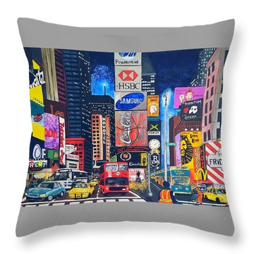 Times Square Throw Pillow by Autumn Leaves Art