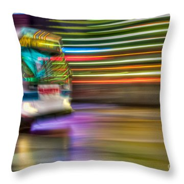 Times Square Bus Throw Pillow by Clarence Holmes