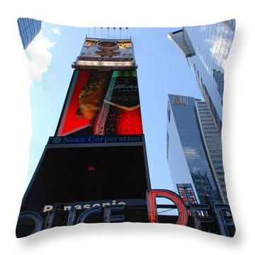 Times Square Cops Throw Pillow by Rob Hans