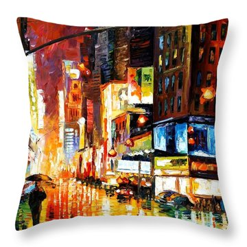 Times Square Throw Pillow by Leonid Afremov