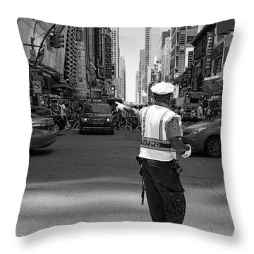 Throw Pillow featuring the photograph Times Square, New York City  -27854-bw by John Bald