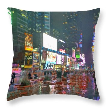 Times Square Red Rain Throw Pillow