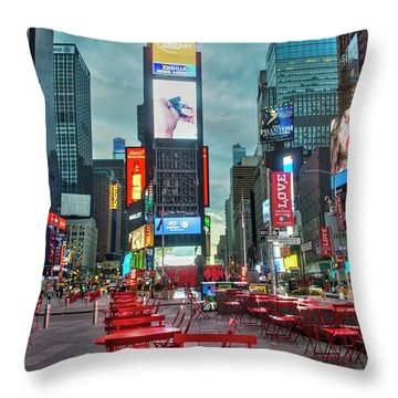 Throw Pillow featuring the digital art Times Square Tables by Timothy Lowry