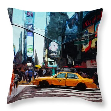 Times Square Taxi- Art By Linda Woods Throw Pillow by Linda Woods