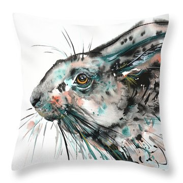 Throw Pillow featuring the painting Timid Hare by Zaira Dzhaubaeva
