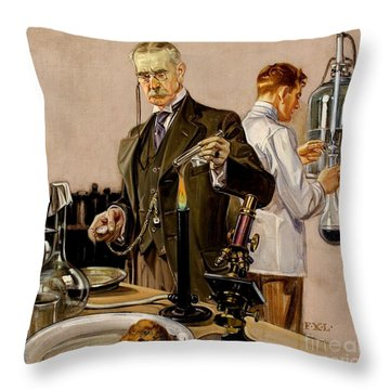 Throw Pillow featuring the painting Timing An Experiment Frank Leyendecker 1910 by Peter Gumaer Ogden