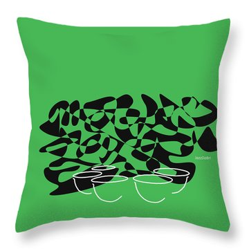 Throw Pillow featuring the digital art Timpani In Green by Jazz DaBri