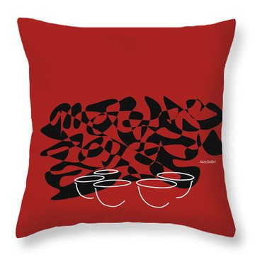 Throw Pillow featuring the digital art Timpani In Orange Red by Jazz DaBri