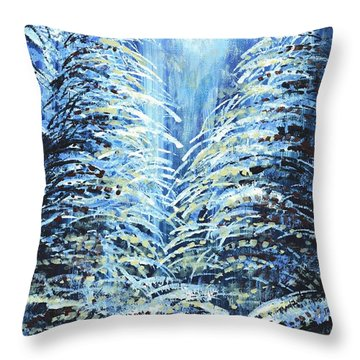 Throw Pillow featuring the painting Tim's Winter Forest by Holly Carmichael