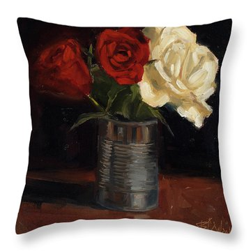 Throw Pillow featuring the painting Tin Can Love by Billie Colson