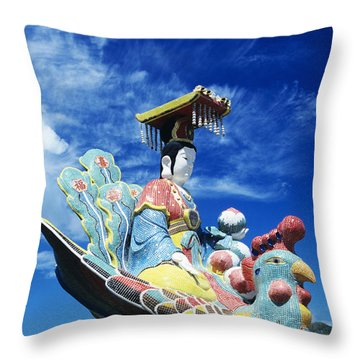 Tin Hua Temple Closeup Of Colorful Statue Throw Pillow by Gloria and Richard Maschmeyer - Printscapes