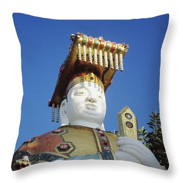 Tin Hua Temple Colorful Statue Throw Pillow by Gloria and Richard Maschmeyer - Printscapes