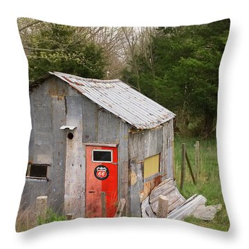 Tin Phillips 66 Shed Throw Pillow by Grant Groberg
