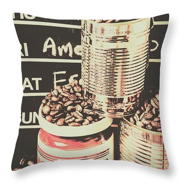 Tin Signs And Coffee Shops Throw Pillow