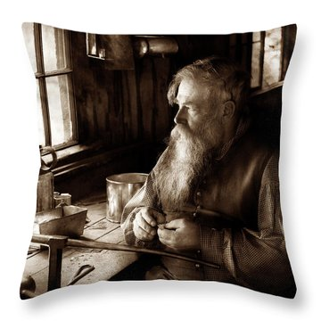 Tin Smith - Making Toys For Children - Sepia Throw Pillow by Mike Savad