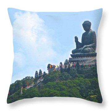 Tin Tan Buddha In Hong Kong Throw Pillow
