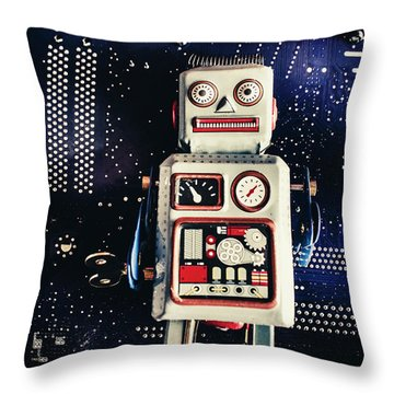 Tin Toy Robots Throw Pillow