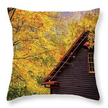 Tingler's Mill In Fall Throw Pillow