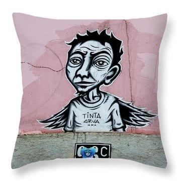 Throw Pillow featuring the photograph Tinta, Lisboa Street Art by Lorraine Devon Wilke