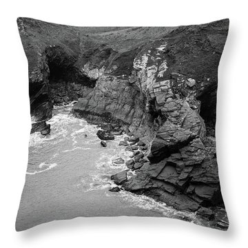 Tintagel Rocks Throw Pillow