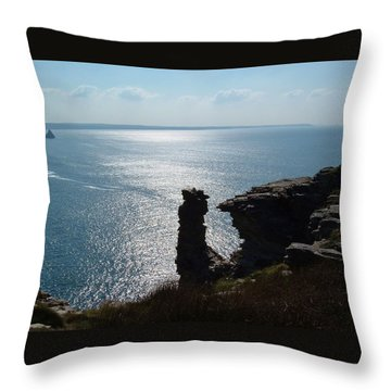 Tintagel Stack Cornwall Throw Pillow