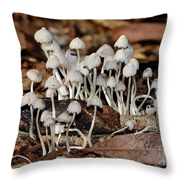 Throw Pillow featuring the photograph Tiny Corrugated Fungi By Kaye Menner by Kaye Menner