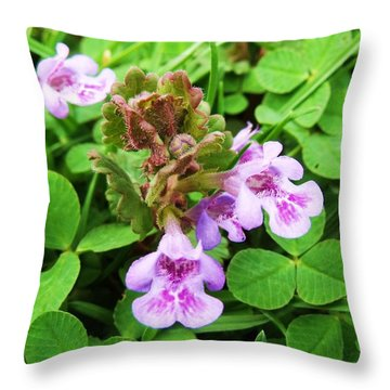 Tiny Flowers I Throw Pillow by Anna Villarreal Garbis