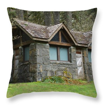 Tiny House In The Woods Throw Pillow