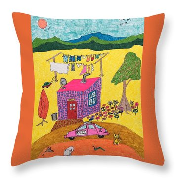 Tiny House With Clothesline Throw Pillow