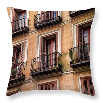 Throw Pillow featuring the photograph Tiny Iron Balconies by T Brian Jones