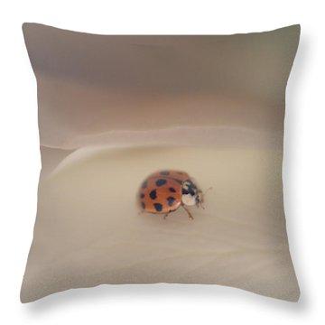 Tiny Lady On White Rose Throw Pillow
