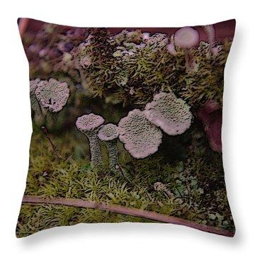 Tiny Mushrooms  Throw Pillow by Jeff Swan