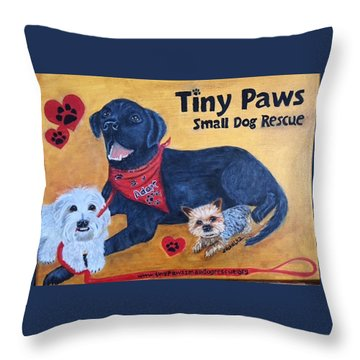 Tiny Paws Small Dog Rescue Throw Pillow