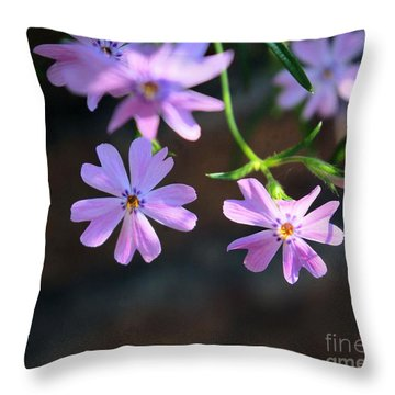 Tiny Pink Flowers Throw Pillow by John S