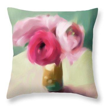 Tiny Pink Ranunculus Floral Art Throw Pillow