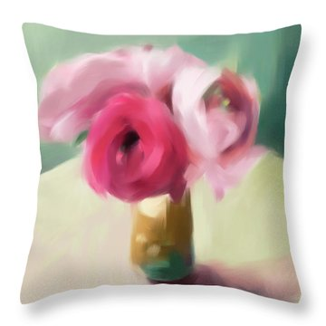 Tiny Pink Ranunculus Floral Art Throw Pillow