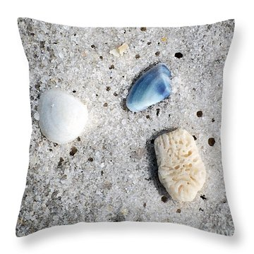 Tiny Sea Shells And A Piece Of Coral In Fine Wet Sand Macro Watercolor Digital Art Throw Pillow