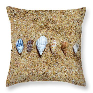 Tiny Seashells On The Sand Throw Pillow
