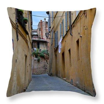 Tiny Street In Siena Throw Pillow