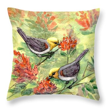 Throw Pillow featuring the painting Tiny Verdin In Honeysuckle by Marilyn Smith
