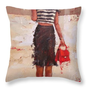 Tip Toe Throw Pillow by Laura Lee Zanghetti