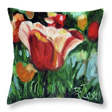 Throw Pillow featuring the painting Tip Toe Thru The Tulips by Billie Colson